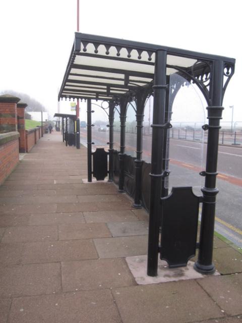 Bus shelters alongside Marine Promenade