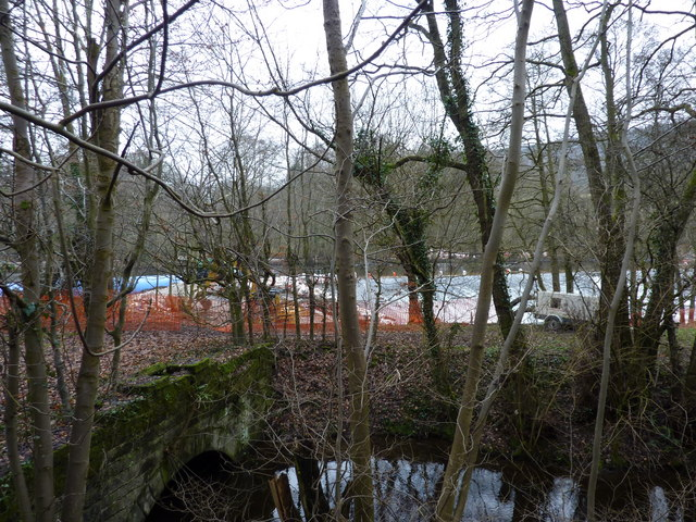 Calver Weir; repair work and the Goit