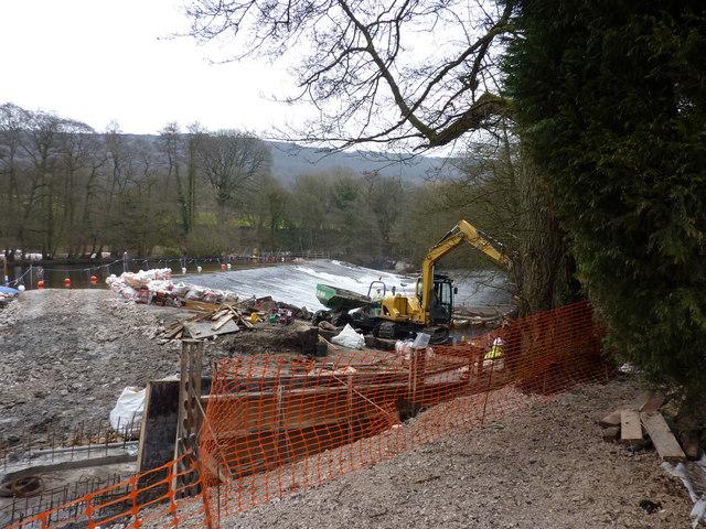 Calver Weir; repair work machinery