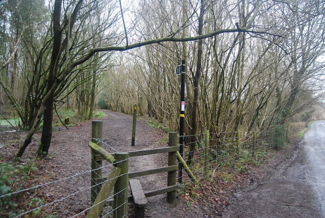 Stile as footpath enters The Slips