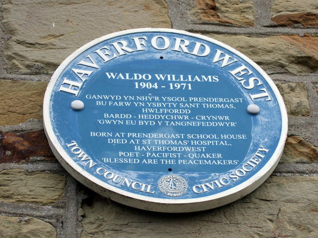 Waldo Williams plaque at Prendergast School