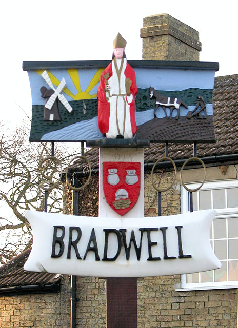 Bradwell village sign (close-up)