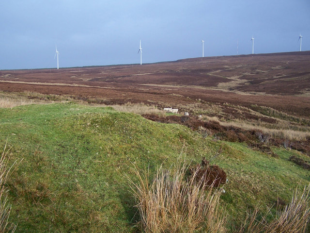 Shieling, sheep and wind farm