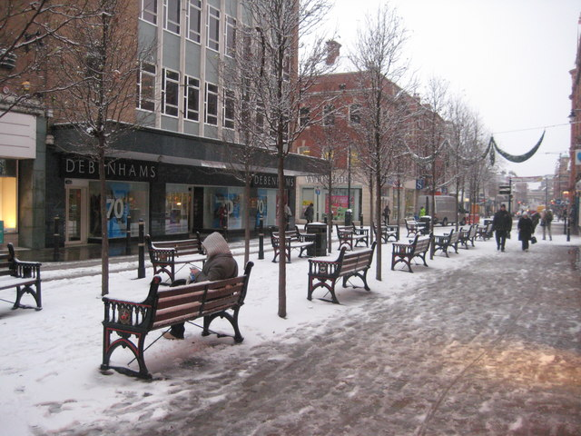 Snowy Worcester High Street
