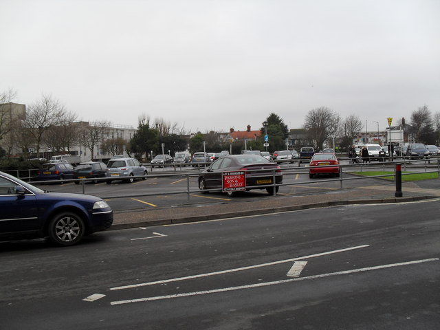 Looking from Queensway into the car park by Fitzleet House