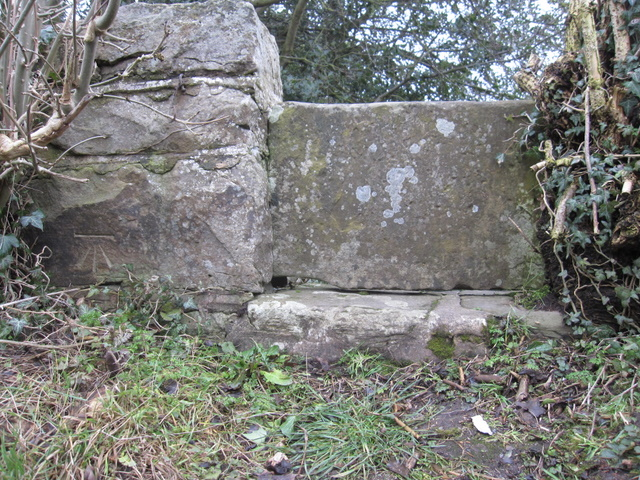 Stone stile and a bench mark