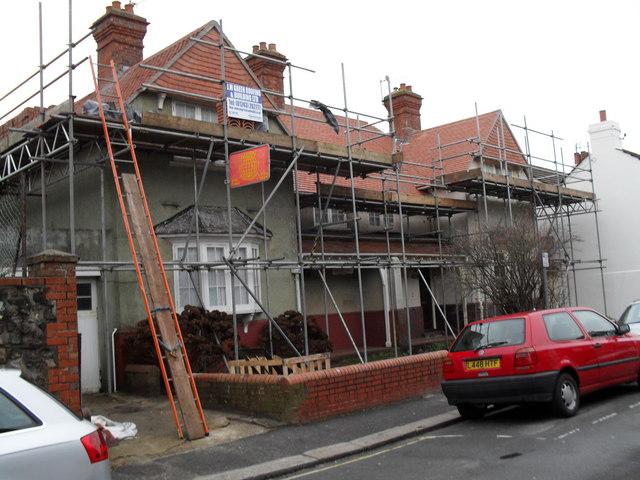 Scaffolding on a house in Steyne Street