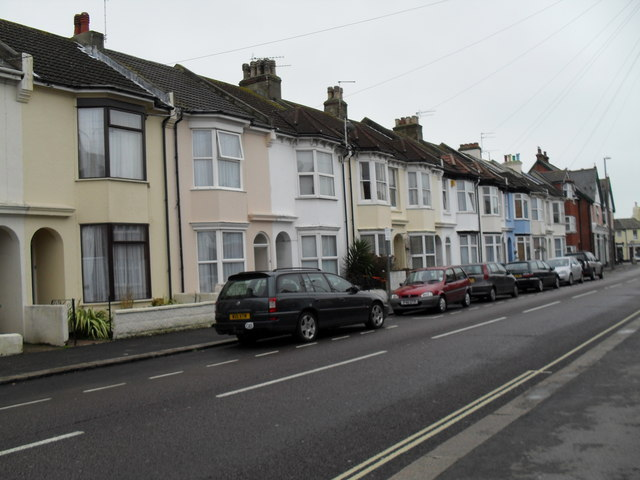 Pastel coloured houses in Argyle Road
