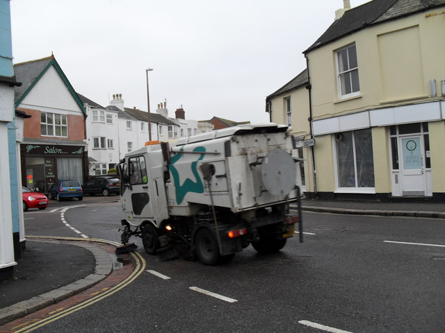 Roadsweeper passing the junction of West and Scott Streets