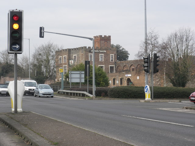 Road junction, at Creech Castle hotel, Taunton
