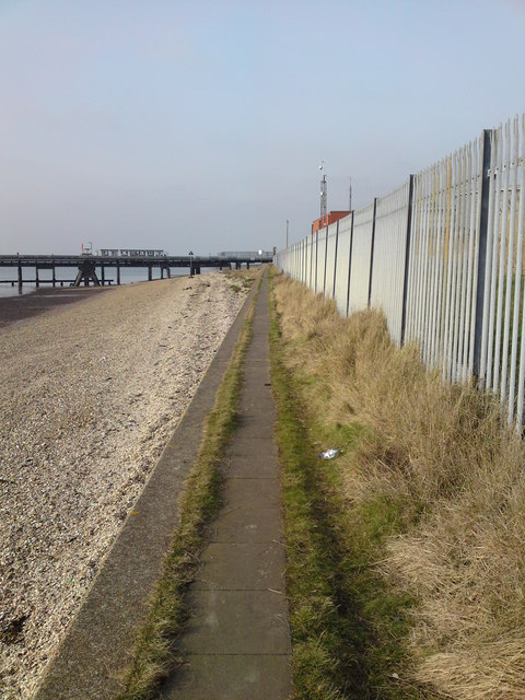 Solent Way footpath running in front of the BP oil terminal