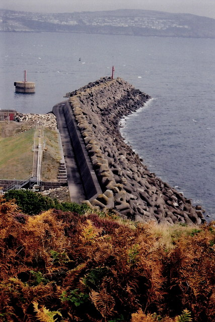 Douglas - Harbour breakwater lined with 'Stabits'