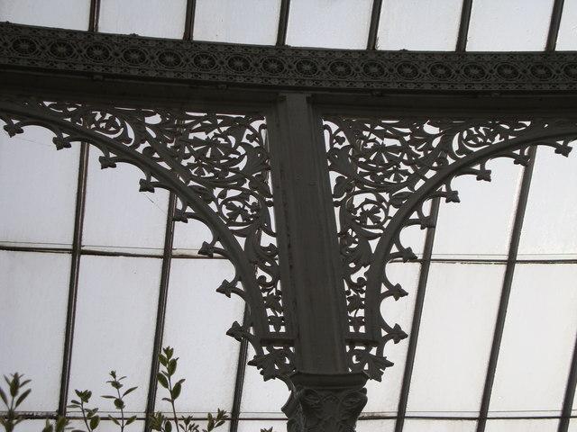 Decorative ironwork in the Kibble Palace, Glasgow Botanic Garden