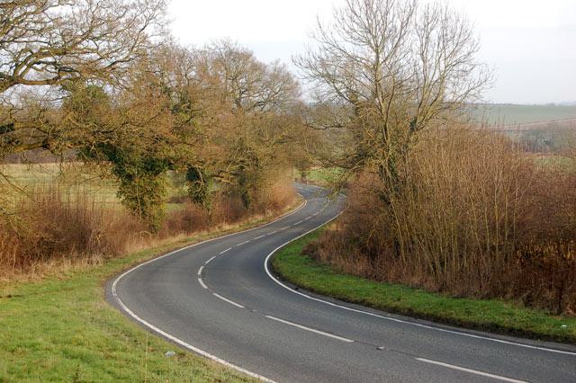 Looking east along the B4453, Princethorpe
