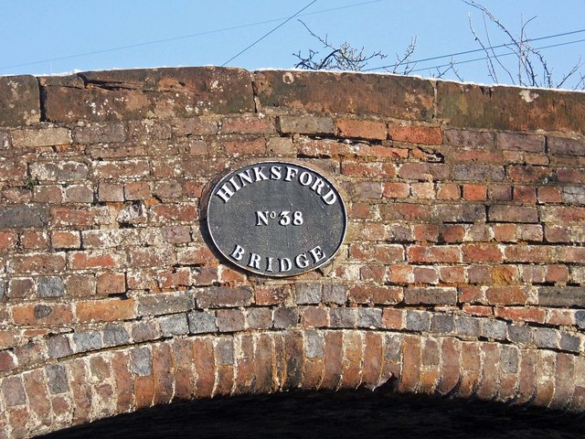 Staffordshire & Worcestershire Canal - Hinksford Bridge (No. 38) name plate