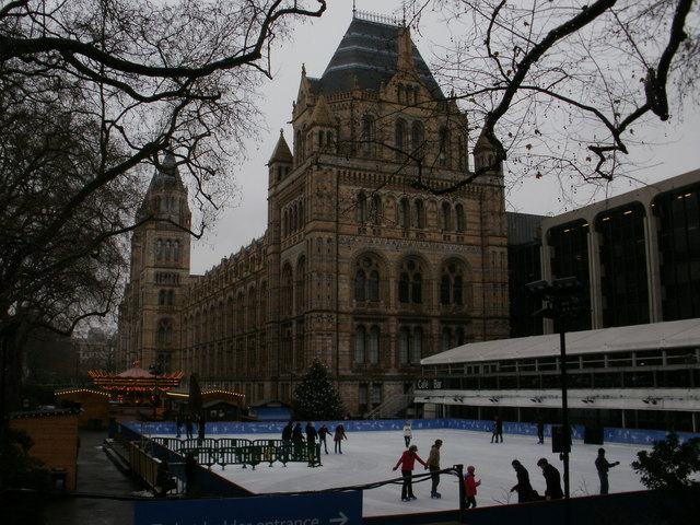 Ice skating in front of the Natural History Museum