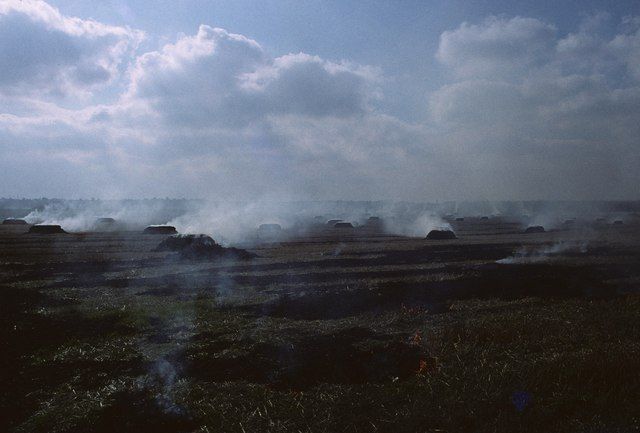 Stubble burning, from the Trans Pennine Trail