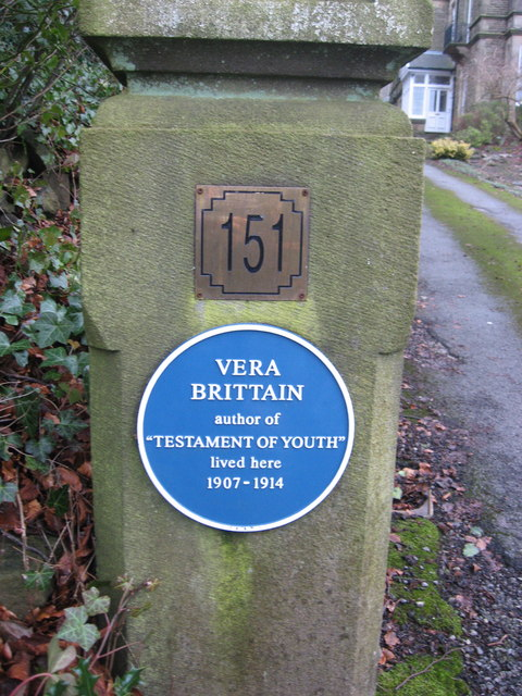 Vera Brittain's Blue Plaque in Buxton's Park Road