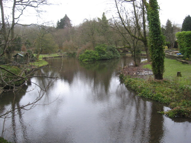 Stream that feeds the lake in Buxton's Serpentine Park