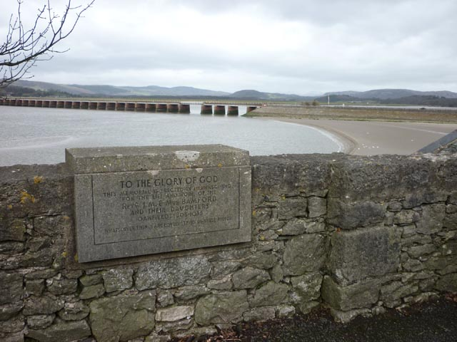Plaque beside the memorial clock, Arnside promenade