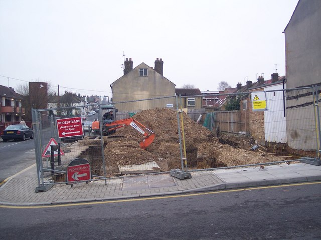 Digging foundations on Skinner Street
