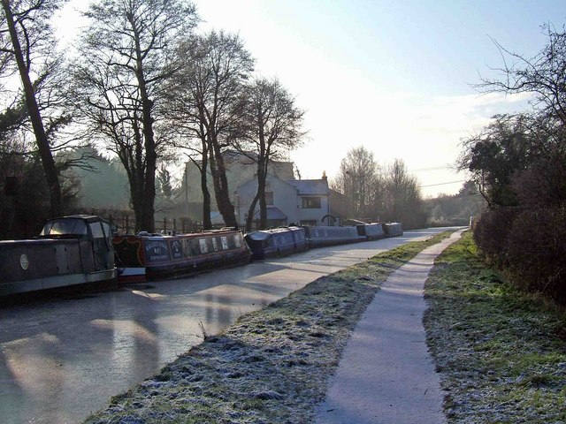 Sun and frost on the canal and towpath in December