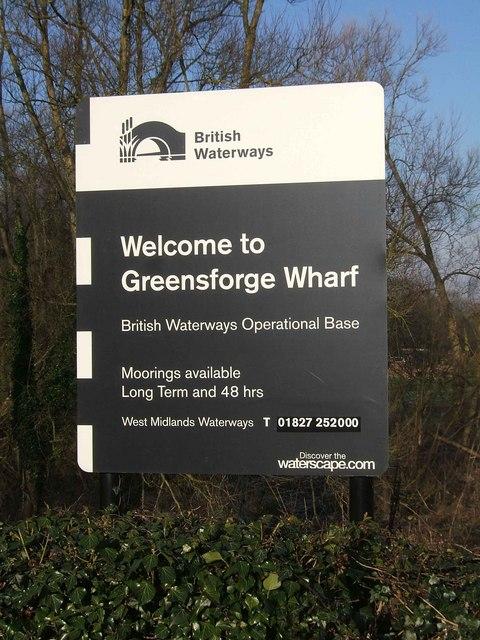 British Waterways Greensforge Wharf sign