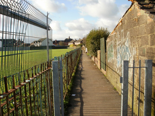 Path along the edge of a recreation ground adjacent to Jenkins Street, Newport