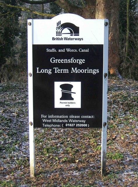 Greensforge Long Term Moorings sign