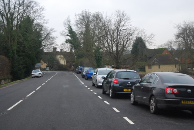 Cars parked by the B2176, Penshurst