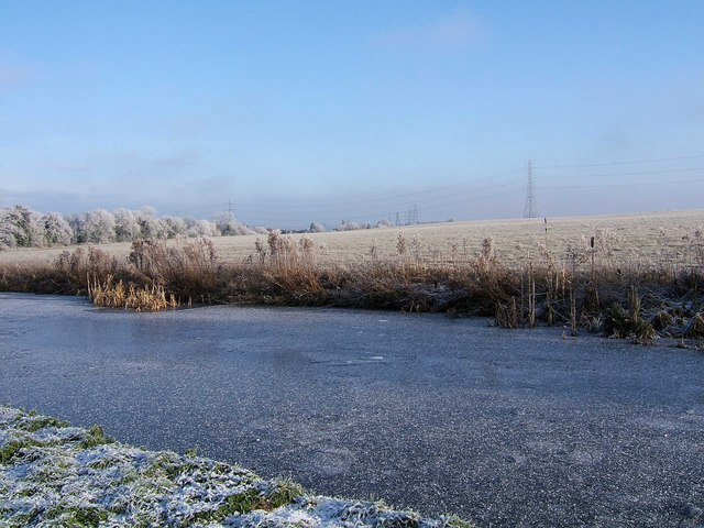 View across the frozen canal