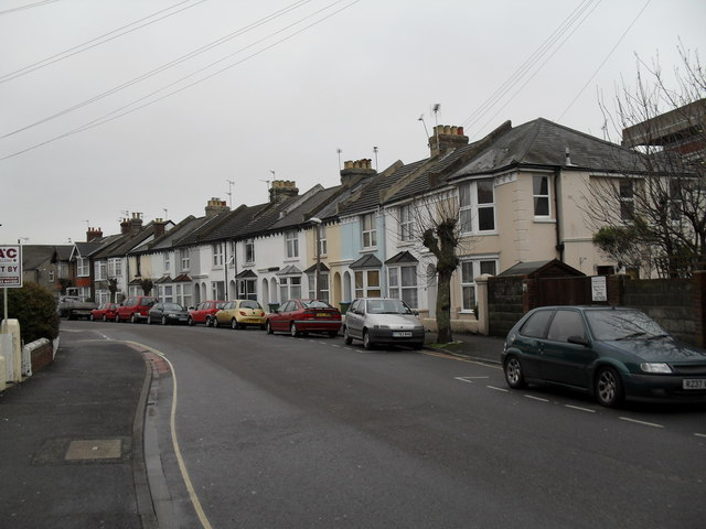 Pastel coloured houses in Crescent  Road
