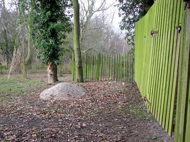 Fence across dismantled railway trackbed