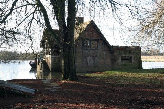 Floods round the boathouse