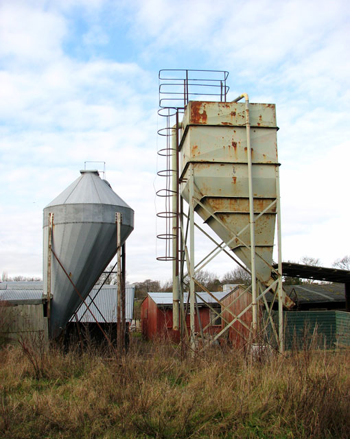 Feed silos at Doles Farm