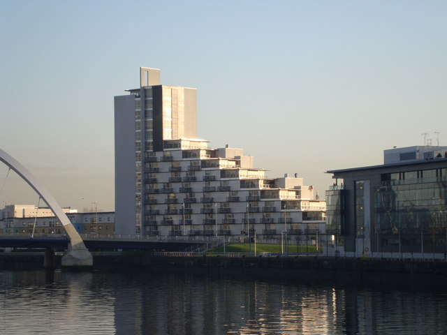 Housing near the Squinty Bridge (properly known as The Clyde Arc)