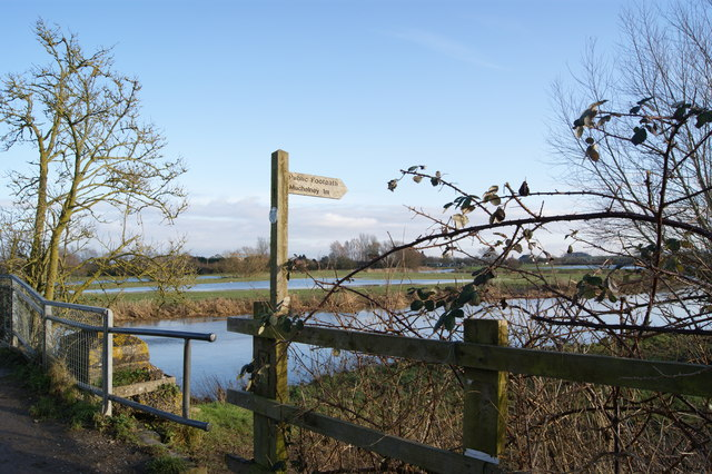 Footpath sign to Muchelney from Huish Bridge Langport