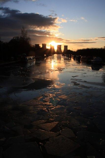 Broken Ice at Sunset