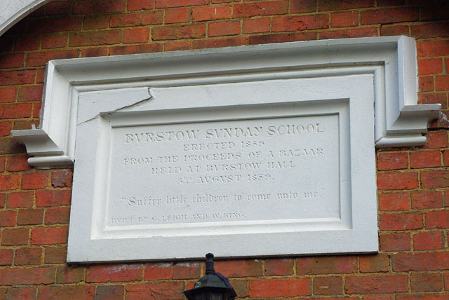 Burstow Sunday school inscription