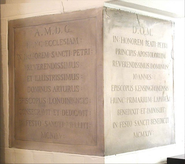 St Peter, Southfield Road, London W4 - Foundation stone