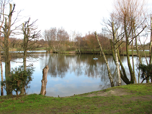 View across a fishing pond at Hall Farm Fishery