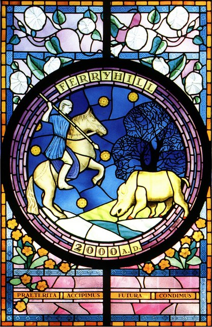 Millennium stained glass in Ferryhill Town Hall