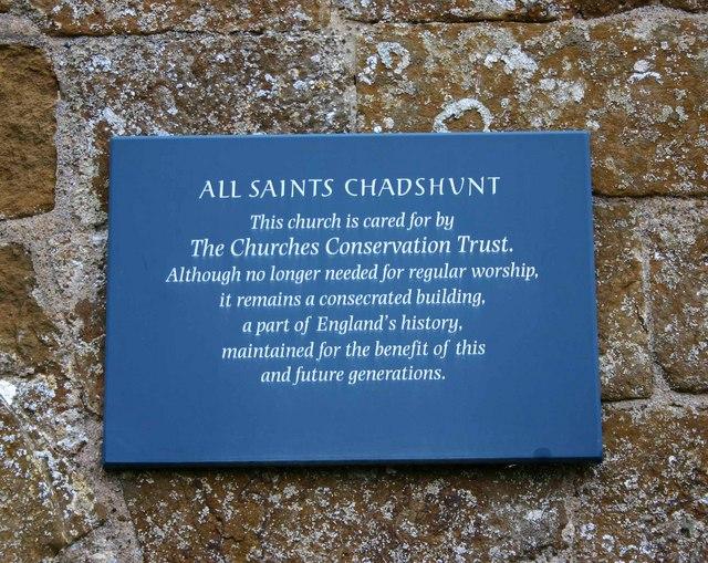 Notice on All Saints Church, Chadshunt