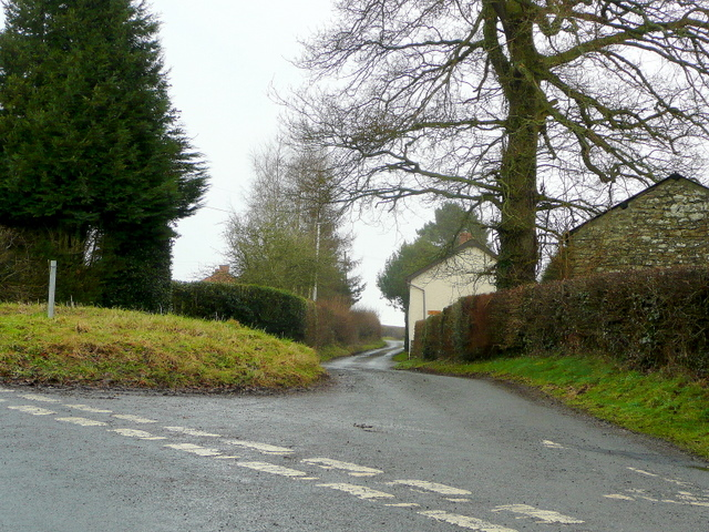 Lane junction at The Rest, Brilley
