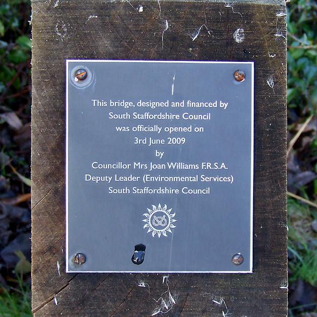 Footbridge plaque in Wombourne, Staffordshire