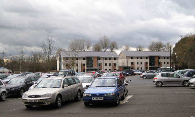 Warwickshire College, car park and student accommodation
