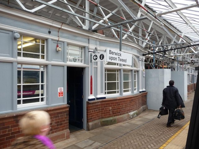 Scaffolding on Platform 2, Berwick upon Tweed Station