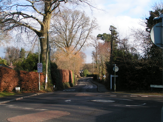 Main road into West Hill from the southwest