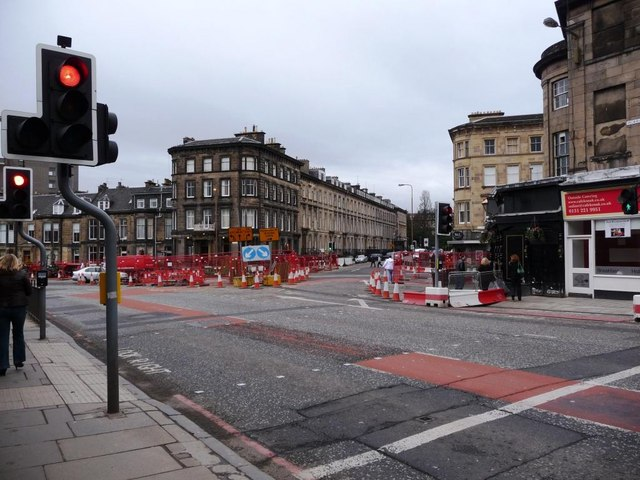 Roadworks at junction of Haymarket, Grosvenor Street and Morrison Street
