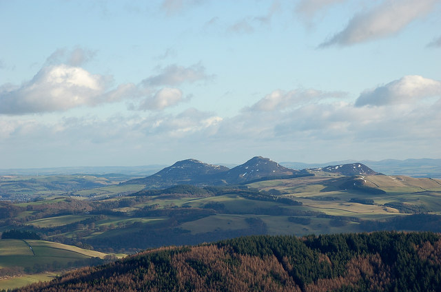 Eildon Hills from the Three Brethren